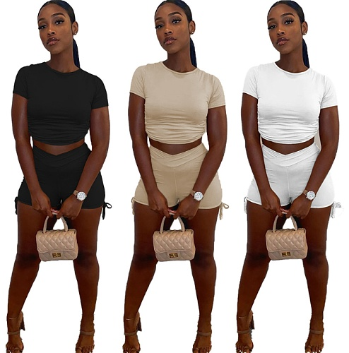 Stylish Solid-Color Pleated T-shirt and Shorts Two-piece Set JC-7017