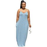 Sexy Cotton Stripe Print Round Neck Sleeveless Halter Dress OMF-2263