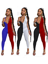 Fashion Two-Color Splice Hanging Neck Deep V Backless Jumpsuit LUO-3075