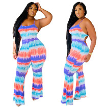 Color Tie-dye Sexy Straight-Tube Suspender Jumpsuit QZX-6140