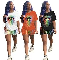 Fashion Colorful Eye Print Short Sleeve Shorts Two-piece Set ML-7339