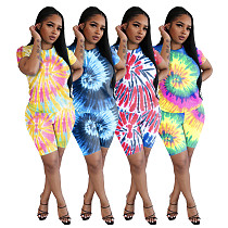 Tie-Dye Printed Round Neck Short Sleeve Casual Two-piece Set IV-8100