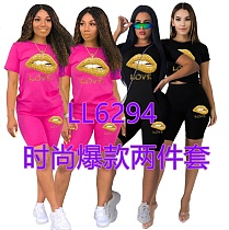 Fashion Offset Printing Short Sleeve T-shirt and Shorts Two-piece Set RM-6294