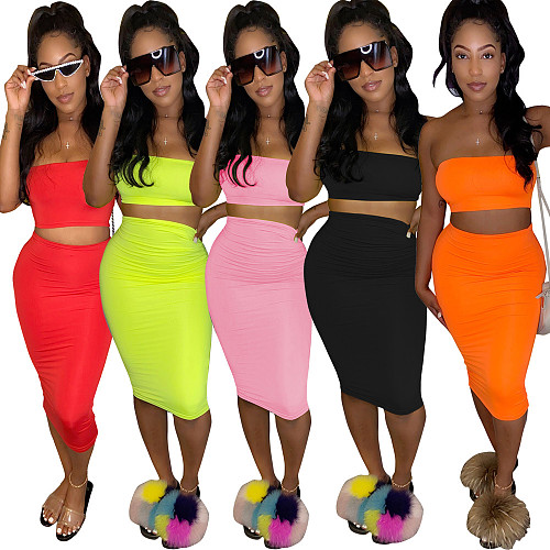 Casual Solid Color Strapless Slim Skirt Two-piece Set TR-1050