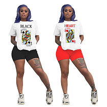 Poker Printed Casual Short Sleeve T-shirt and Shorts Two-piece Set YLY-688