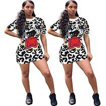 Hot Style Printed Round Neck Short Sleeve Mini Skirt XY-9010