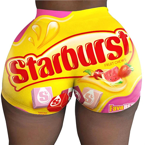 Candy-Colored Printed Plus-Size Tight Low Waist Shorts SHD-9300