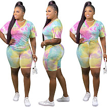 Multicolor Tie-dye V-neck Short-sleeved T-shirt and Shorts Two-piece Set JYT-9032