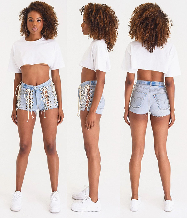 Personalized Corns High Waists Make Old Sexy Denim Shorts LA-3203