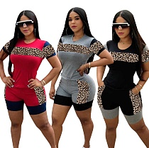 Casual Leopard Print Mosaic Short-sleeved Shorts Two-piece Set LP-6229