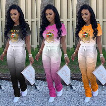 Color-Changing Lip Lettering Print T-shirt Pleated Sweatpants Two-piece Set MAE-2049