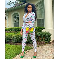 Fashion Butterfly Print Long Sleeve Jacket Trousers Two-piece Set DM-8135