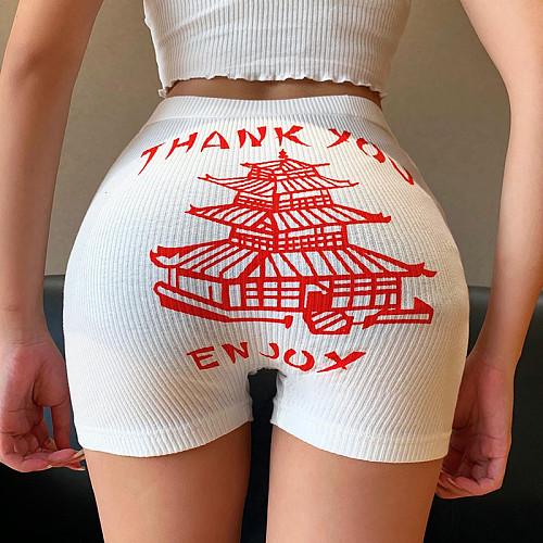 2020 New Yellow Crane Tower Printed Tight Yoga Shorts SUM-20241
