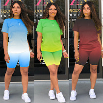 Color-Changing Printed Short-sleeved T-shirt Sports Shorts Two-piece Set YUM-9026