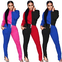 Two-color Mosaic Long Sleeve Blouse Split Trousers Two-piece Set SMD-8002