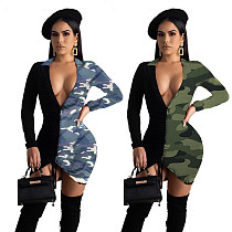 Hot Sell Matching Color Drawstring Deep V-Neck Camouflage Dress YIM-8083