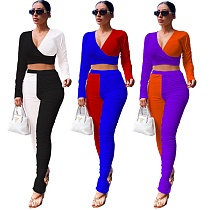 Matching Color Leisure Long Sleeve Pleated Trousers Two-piece Set GS-1852