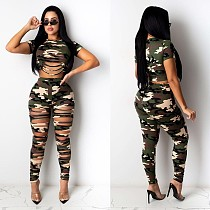 Sexy Camouflage Color Round Neck Short Sleeve Hole T-shirt Trousers Two-piece Suit NY-2004