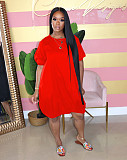 Lovely Solid Color Short Sleeved Round Neck Lantern Dress AIL-107