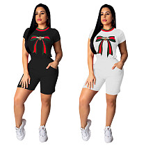 Distinctive Printed Round Neck Short Sleeves T-shirt Shorts Two-piece Set MA-346