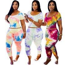 Fashion Tie-dye Element U Collar T-shirt Tight Trousers Two-piece Set LDS-3228