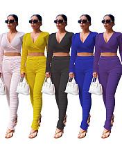 Casual Plain Color Pleated Long Sleeve Blouse Slim Pants Two-piece Set LQ-5849