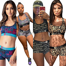 2020 New Printed Breathable Movement Two-piece Set OD-8405
