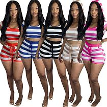 Casual Striped Hooded Short-Sleeved T-shirts Shorts Two-piece Set FST-7111