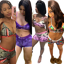 Summer Breathable Bra Tight Shorts Swimming Two-piece Set OD-8402