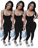 Solid Wide Shoulder Strap Slim Sleeveless Women Jumpsuits DAI-8245
