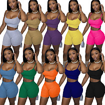 Solid Color Bare Navel Tank Top and Shorts Two-piece Set WY-6672