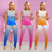 Gradient Sleeveless Side Open Lace-up T-shirt+Pleated Zipper Pencil Trouser Suit KSN-8003