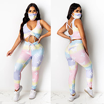 Sexy Rainbow Print Drawstring Tank Top Tight Pants Two-piece Set Without Mask NY-7110