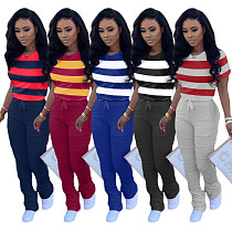 Matching Color T-shirt Buttock Lift Slim Pleated Flared Trousers Two-piece Set TK-6101