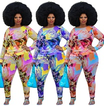 Color Printed Large Size Round Neck Long Sleeve Two-piece Set HEJ-6015