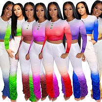 Fashion Gradient Long Sleeve T-shirt Pleated Trousers Two-piece Set OMF-2267
