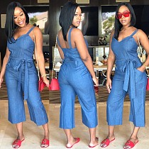 Sexy Strappy Mid-Waist Wide-Leg Denim Jumpsuit OD-8125