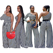 Plus-size Diagonal Single Sleeve Stripe Mosaic Jumpsuit LM-8165