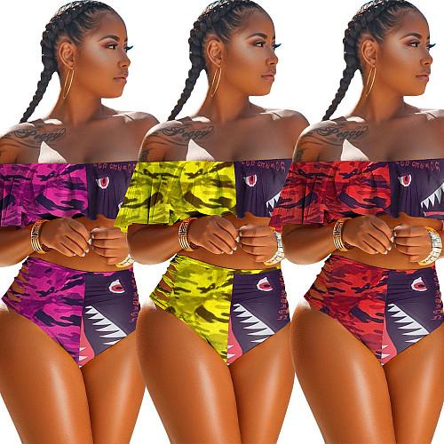 Fashionable Mosaic Flounces Multicolor Printed Swimsuit HGL-1358