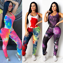 Hot Style Tie-dye Printed Sleeveless Jumpsuit CHY-1245