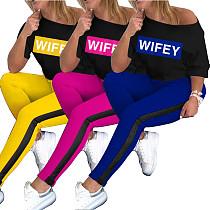Casual Alphabet Print T-shirt Trousers Two-piece Suit WZ-8299