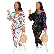 Fashion Butterfly Digital Printed Sportswear Two-piece Set WSM-5180