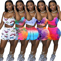 Hot Sales Tie-dye Multi-color Condole Belt Two-piece Set LDS-3230