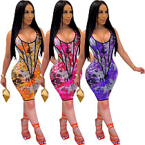 Fashion Digital Print Sleeveless Onesies+Shorts Two-piece TEN-3430