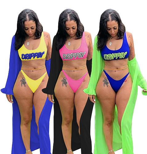 Fashion Printed Swimsuit Lotus Sleeve Covered Three Pieces Set MEM-8290