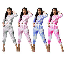 Casual Tie-dyed Long Sleeves T-shirts Sweatpants Two-piece Set TR-1052