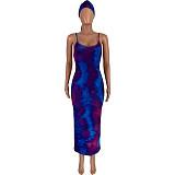 Sexy Colorful Print Sleeveless Halter Dress With Headscarf FNN-8515