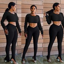 Long Sleeve Shirt Navel Exposed Slit Trousers Two-piece Set MYP-8926