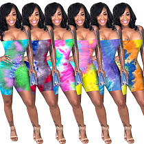 Color Printed Tight Sexy Sleeveless Suspender Romper YN-1018