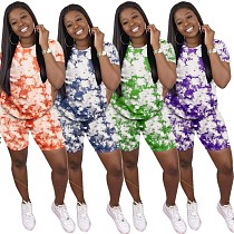 Fashion Tie-dye Short Sleeve T-shirt Shorts Two-piece Set LP-6227